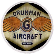Grumman Wings Diamond Round Beach Towel