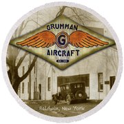 Grumman Wings Round Beach Towel