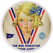 Grumman Worker Sleeping Poster Round Beach Towel