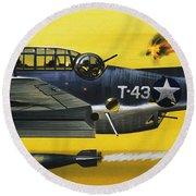 Grummen Tbf1 Avenger Bomber Round Beach Towel by Wilf Hardy