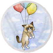 Grumpy Cat And Balloons Round Beach Towel