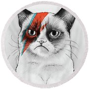 Grumpy Cat As David Bowie Round Beach Towel by Olga Shvartsur