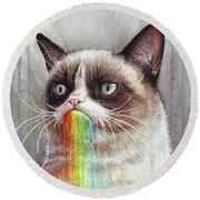 Grumpy Cat Tastes The Rainbow Round Beach Towel