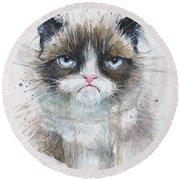 Grumpy Cat Watercolor Painting  Round Beach Towel
