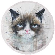 Grumpy Cat Watercolor Painting  Round Beach Towel