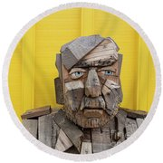 Round Beach Towel featuring the photograph Grumpy Old Man by Edward Fielding