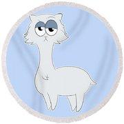 Grumpy Persian Cat Llama Round Beach Towel