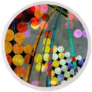 Round Beach Towel featuring the digital art Grunge City Lights by Fran Riley