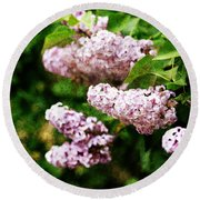 Round Beach Towel featuring the photograph Grunge Lilacs by Antonio Romero
