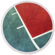 Round Beach Towel featuring the photograph Grunge On The Basketball Court by Gary Slawsky