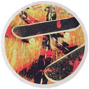 Grunge Skate Art Round Beach Towel