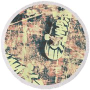 Grunge Skateboard Poster Art Round Beach Towel
