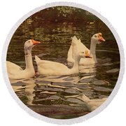 Grungy Chinese Geese Round Beach Towel by Bonnie Willis