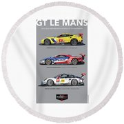 Gt Le Mans Poster Round Beach Towel