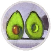 Round Beach Towel featuring the painting Guacamole by Nancy Merkle
