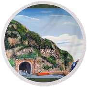 Guajataca Tunnel Round Beach Towel