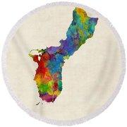 Guam Watercolor Map Round Beach Towel