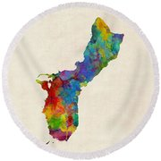Guam Watercolor Map Round Beach Towel
