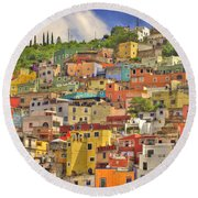 Guanajuato Hillside Round Beach Towel by Juli Scalzi