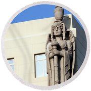 Guardian Angel And Blue Round Beach Towel