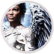 Guardian Angel Poster Round Beach Towel