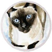 Guardian Angel - Siamese Cat Portrait Round Beach Towel