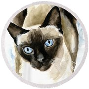 Guardian Angel - Siamese Cat Portrait Round Beach Towel