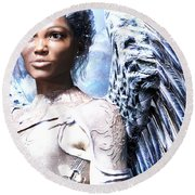 Guardian Angel2 Round Beach Towel by Suzanne Silvir