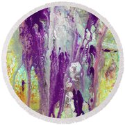 Guardian Angels - Colorful Spiritual Abstract Art Painting Round Beach Towel