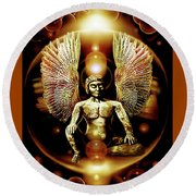 Guardian  Archangel Round Beach Towel