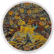 Guardian Of The Temple Round Beach Towel