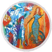 Guardian Of Rainbow Light Round Beach Towel