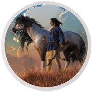 Round Beach Towel featuring the digital art Guardians Of The Plains by Daniel Eskridge