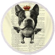 Boston Terrier With Wings And Red Crown Vintage Illustration Collage Round Beach Towel