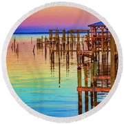 Guarding The Dock Round Beach Towel by Roberta Byram