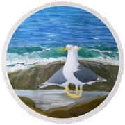 Guarding The Land And Sea Round Beach Towel
