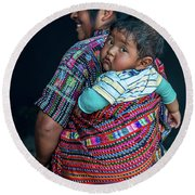 Guatemalan Woman With Baby Round Beach Towel