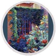 Guesthouse Rose Garden Round Beach Towel by David Lloyd Glover