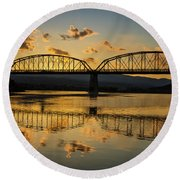 Guffey Bridge At Sunset Idaho Journey Landscape Photography By Kaylyn Franks Round Beach Towel