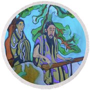 Round Beach Towel featuring the painting Gugin-seven Strings by Denise Weaver Ross