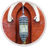 Round Beach Towel featuring the painting Guiding Light At The Mother Church by Sandy MacGowan