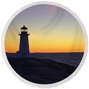 Peggy's Cove Lighthouse Round Beach Towel by Heather Vopni