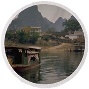 Guilin Limestone Peaks Round Beach Towel