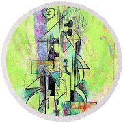 Guitar Abstract In Green Round Beach Towel