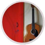 Guitar And Red Door Round Beach Towel