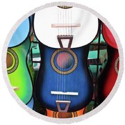 Guitar Garden Round Beach Towel