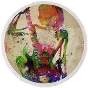 Guitar Girl  Round Beach Towel