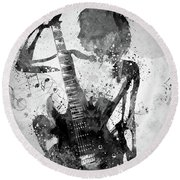 Guitar Girl Black And White Round Beach Towel