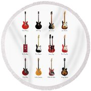 Guitar Icons No1 Round Beach Towel