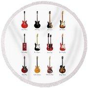 Guitar Icons No1 Round Beach Towel